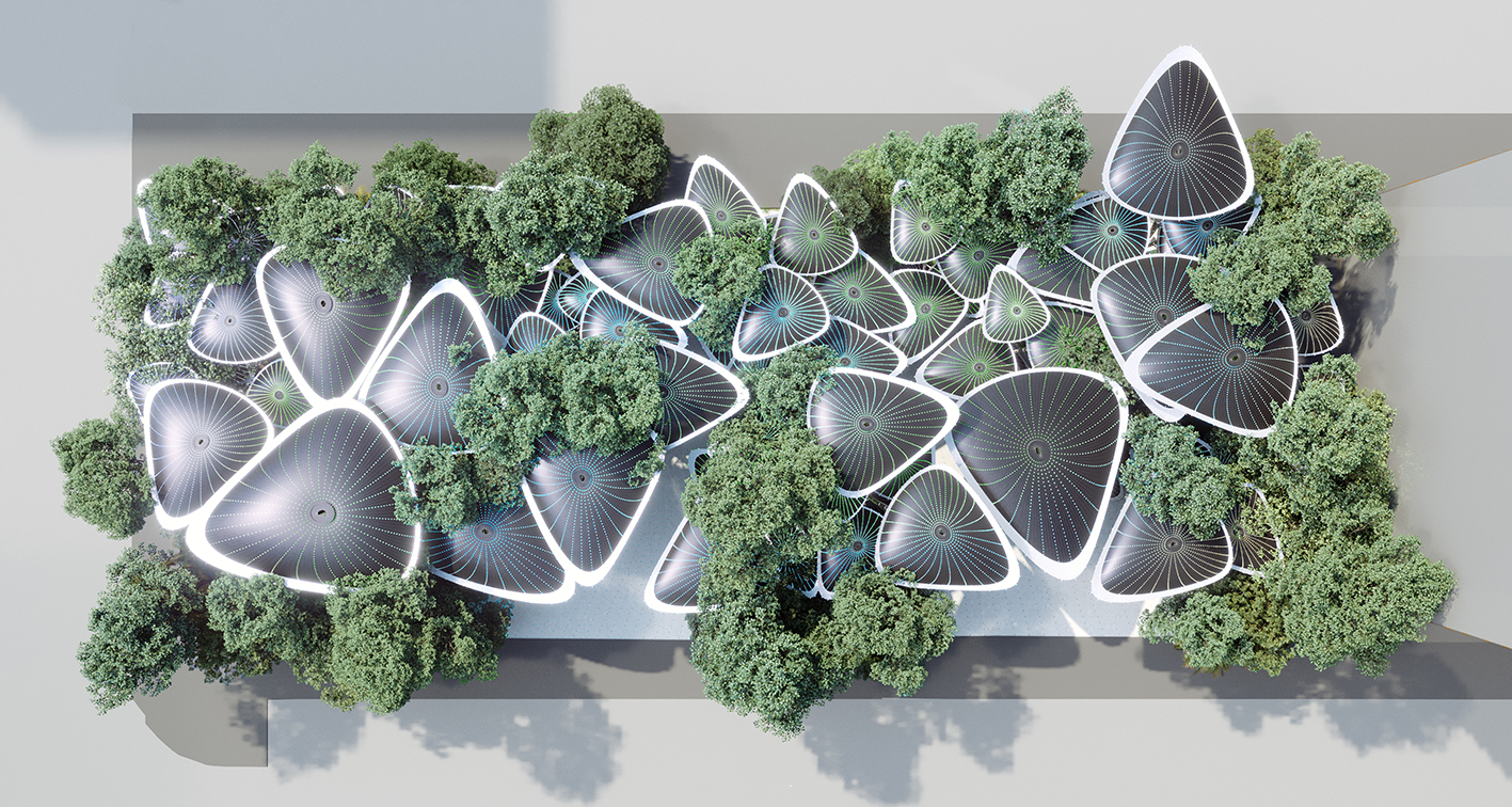 The Artificial Breathing Palm modular structure system, ' Oasys + System '